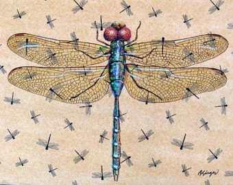 """Original Large Dragonfly Painting 18"""" X 24"""" on stretched canvas ready to hang cottage Lake House Decor"""