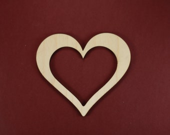 Heart Frame Shape Unfinished Wood Laser Cut Shapes Crafts Variety of Sizes