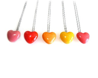 Glitter Candy Heart Necklace, candy jewelry