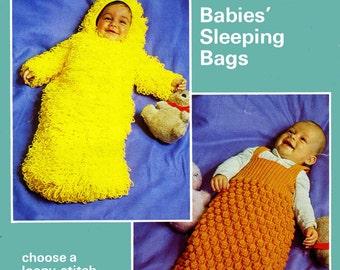 Vintage Babys Sleeping Bags, Knitting Pattern, 1960s (PDF) Pattern, Patons 1497