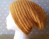 Yellow Mustard Slouchy Crochet Hipster Stylish Beanie Unisex Hat in Acrylic