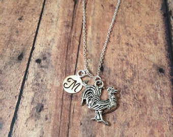 Rooster initial necklace - farm animal necklace, rooster jewelry, chicken necklace, bird necklace, farm jewelry, silver rooster necklace