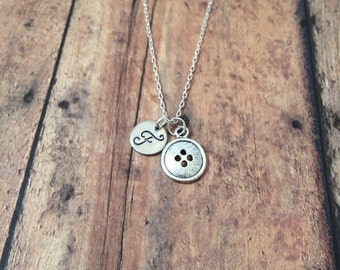 Button initial necklace - button jewelry, sewing necklace, gift for seamstress, sewing jewelry, button pendant, silver button necklace
