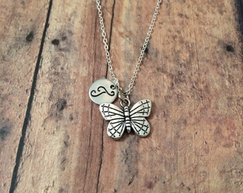 Butterfly initial necklace - butterfly jewelry, insect necklace, spring necklace, silver butterfly necklace, insect jewelry
