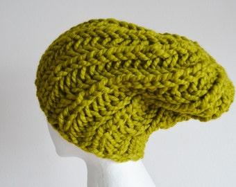 Lemongrass Hat, Chunky Knit Hat, Navigator Hat, Women's Fashion Knit Hat