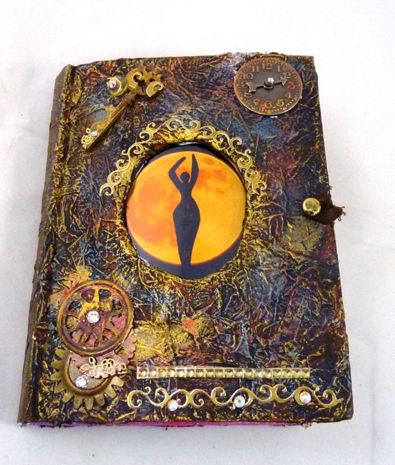 Book Cover Art Etsy ~ Sale journal altered book moon goddess steampunk vintage mixed