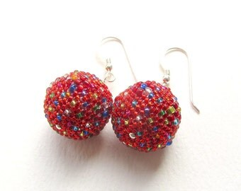 Scarlet Mirrorball Earrings, Lightweight Beaded Bead Earrings, 18mm, Bright Shiny Red, Sterling Silver  Earwires