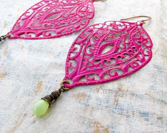 Pink earrings dark pink dangle earrings Bohemian earrings Boho bohemian jewelry