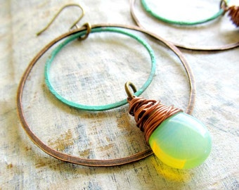 bohemian earrings Patina earrings double hoop mint earrings Boho jewelry gift for her under 30