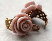 Pink Rose Ring, Filigree Ring, 18K Gold, Rose Gold Copper, Rose Jewelry, SRAJD JewelryFineAndDandy