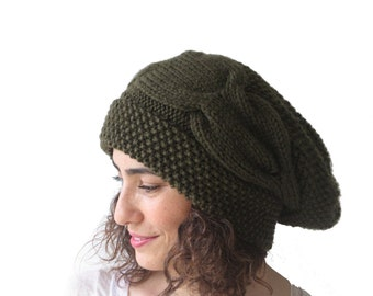 Army Green Slouchy Hat with Pon Pon by Afra
