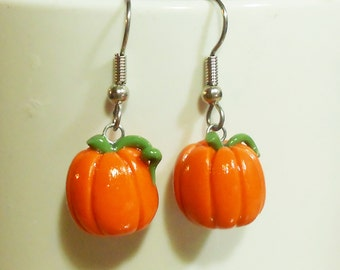 Pumpkin dangly earrings fall harvest holiday polymer clay surgical steel dangle orange