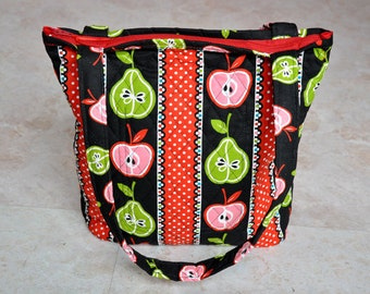 ON SALE Quilted purse with zipper, zippered tote bag, unique teacher bag, cute quilted handbag, black, green, and red market bag, gift idea