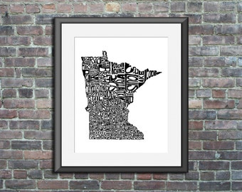 Minnesota typography map art print 16x20 customizable personalized state poster custom wall decor engagement wedding housewarming gift