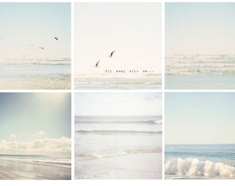 Set of 6 pale blue summer photos - typography, beach photos, blue aqua white grey sky summer clouds seagulls flight, soothing beach decor