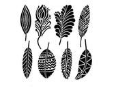 Mini Fancy Feathers 6x6 Crafters Workshop Stencil (389S) - for cookies, cakes, cardmaking, mixed media, paper-arts, chalking, scrapbooks