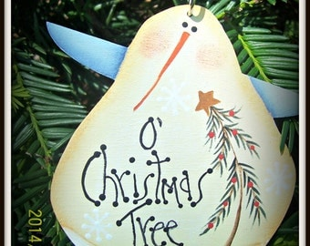 Primitive Snowman Angel Wood Ornament Gift Tag Christmas Tree Decoration