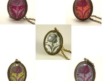 Spring Fling vintage inspired floral specimen engraving pendant cameo necklace boho steampunk hipster