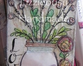 Sweet heart mixed media free motion embroidery original canvas (4x8inch)