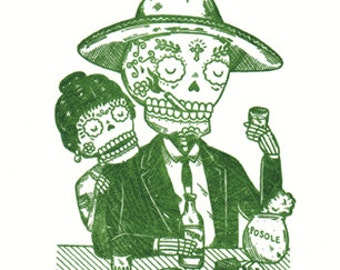 Calavera Tapatia Limited Edition Gocco Screenprint Day of the Dead Art