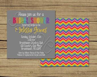 25 5x5 Rainbow Modern Bridal Shower Invitations
