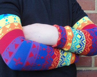 Tribal RAINBOW - KOOL KID Arm / Leg Warmers for Baby, Toddler, Child, Tween Boy or Girl - Fun and Functional Fashion