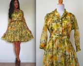 Vintage 50s 60s Green Floral Organza Full Skirt Pleated Shirt Dress