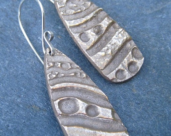Bronze and Sterling Silver Dangle Earrings, mixed metal textured earrings boho tribal rustic gold and silver bold handmade metal clay