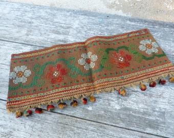 P2  Vintage 1900 Victorian /Edwardian French  cross stiched tapisserie panel adorned with pompoms trims