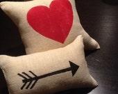 Burlap Heart & Cupid's Arrow Pillow Set