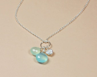 Aqua Blue Chalcedony Necklace, Keshi Pearl Necklace, Beach Wedding Necklace, Bridesmaid Gift, Beach Wedding Jewelry