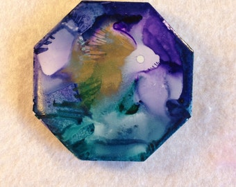Abstract fish or porcupine octagon magnet in purples, teals and gold