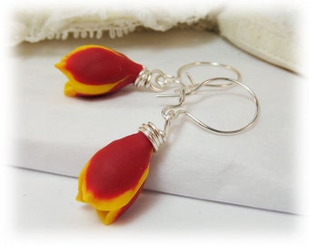 Red Tulip Earrings - Red Yellow Tulip Earrings, Red Spring Flower Earrings, Red Yellow Flower Earrings, Tulip Jewelry, Assorted Earwires