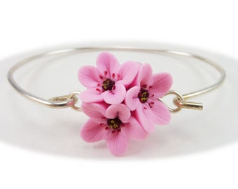 Pink Cherry Blossoms Cluster Bracelet - Cherry Blossom Jewelry Collection