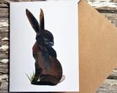 Brown Rabbit Card of Original Collage
