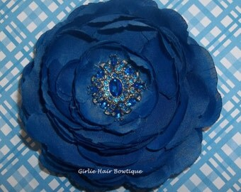 "Blue Flower Clip Blue Hair Clip 3.75"" Ranunculus Hair Clip Royal Blue Rhinestone Hair Clip Wedding Bridesmaid Flowergirl Electric Blue"
