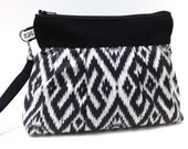 Wristlet Clutch Purse - Ikat in Charcoal Gray Black and White