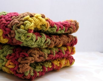 Crocheted Washcloths In Fall Colors, Cotton Dish Cloths, Olive Green, Gold, Burgundy and Brown Wash Cloths, Eco Friendly Kitchen Wash Cloths