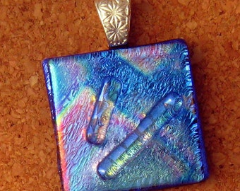 Fused Glass Pendant - Dichroic Jewelry - Fused Glass Jewelry - Dichroic Pendant - Glass Pendant - Blue Pendant