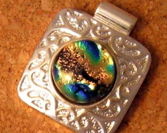 Dichroic Pendant in Silver Setting, Green Dichroic Pendant, Dichroic Jewelry