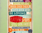 Dog House Rules pet typography couch friendly version graphic artwork giclee signed artists print by Stephen Fowler