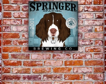 Springer Spaniel Brewing dog beer Company original illustration graphic art on canvas by stephen fowler