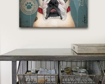 English Bulldog Winery illustration original graphic art on gallery wrapped canvas by stephen fowler