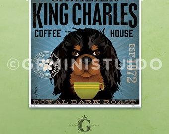 Cavalier King Charles dog Coffee Company graphic art giclee archival print by Stephen Fowler