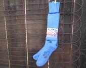70s Deadstock Vintage Wool ski Socks light blue tall Wigwam socks size 11 - 13