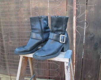 Vintage 90s Ankle boots Black Leather Motorcycle Boots  7.5 Esprit
