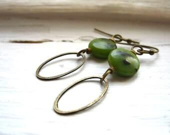 Serpentine Earring, Green Serpentine Gemstone Hoop Dangle Drop Earrings, Handmade metalwork stone earrings jewelry, Gemstone Jewelry