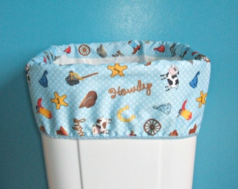 Diaper Pail Liner for Cloth Diapers, Reversable Band, Large Cloth Diaper Wet Bag, Trash Can Liner, Nursery Garbage Can Liner, Blue Cowboy
