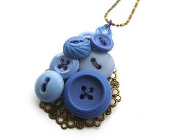 Cornflower Blue Filigree Vintage Button Pendant Necklace