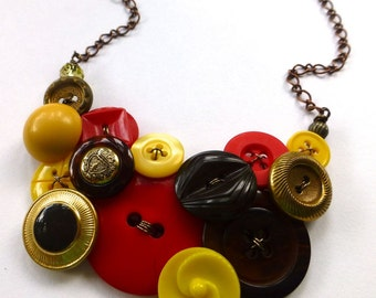 Vintage Button Statement Necklace Yellow, Red, Brown, and Gold Brass